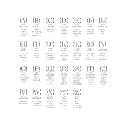 Occasions Alphabet of 26